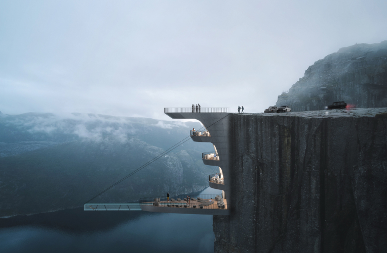 New hotel designed to hang over cliff edge in Norway