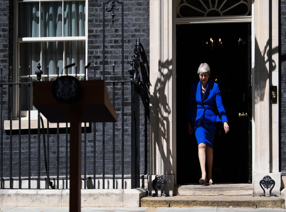 Britain's former PM at 10 Downing Street in 2019, before tendering her resignation at Buckingham Palace