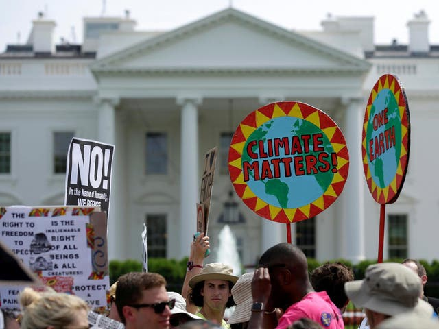 Climate change protesters outside the White House
