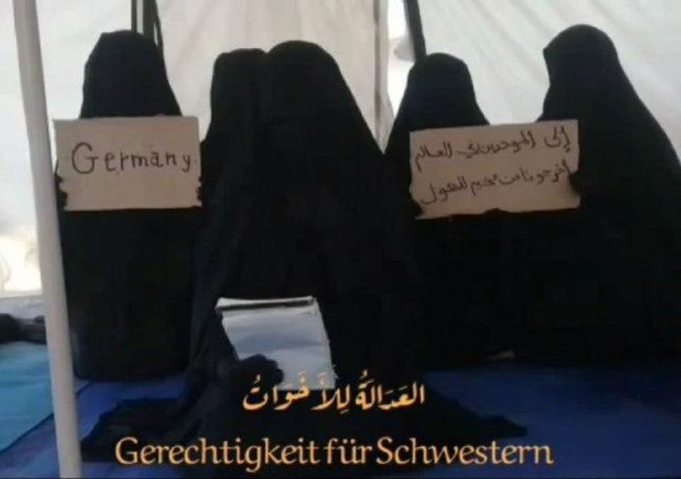 Women claiming to be at al-Hol camp in northern Syria, shared on a Telegram channel which solicited donations
