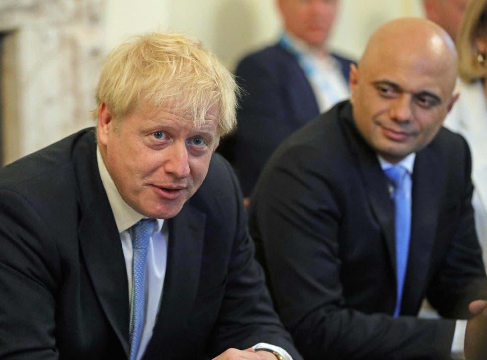 Boris Johnson and chancellor Sajid Javid at No 10
