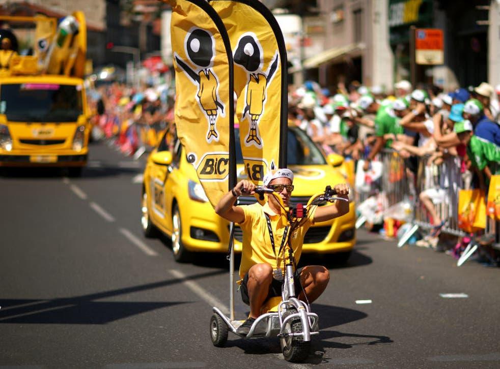 The publicity caravan during the 2017 Tour de France