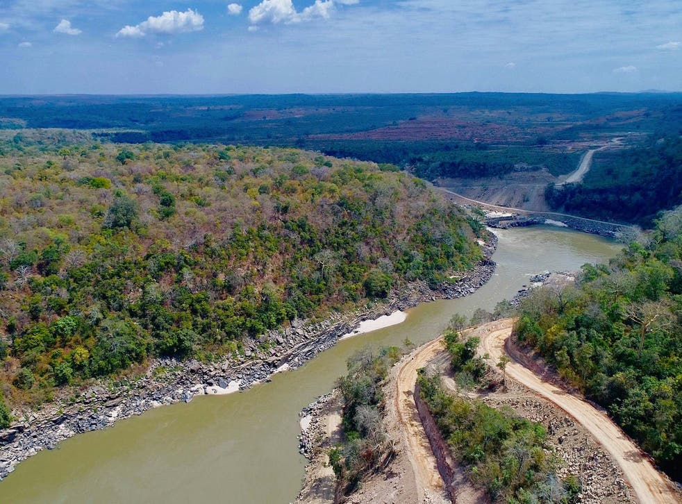 An aerial view shows the Rufiji river flowing through the ranges during the launch of the construction of the Rufiji Hydro Power project