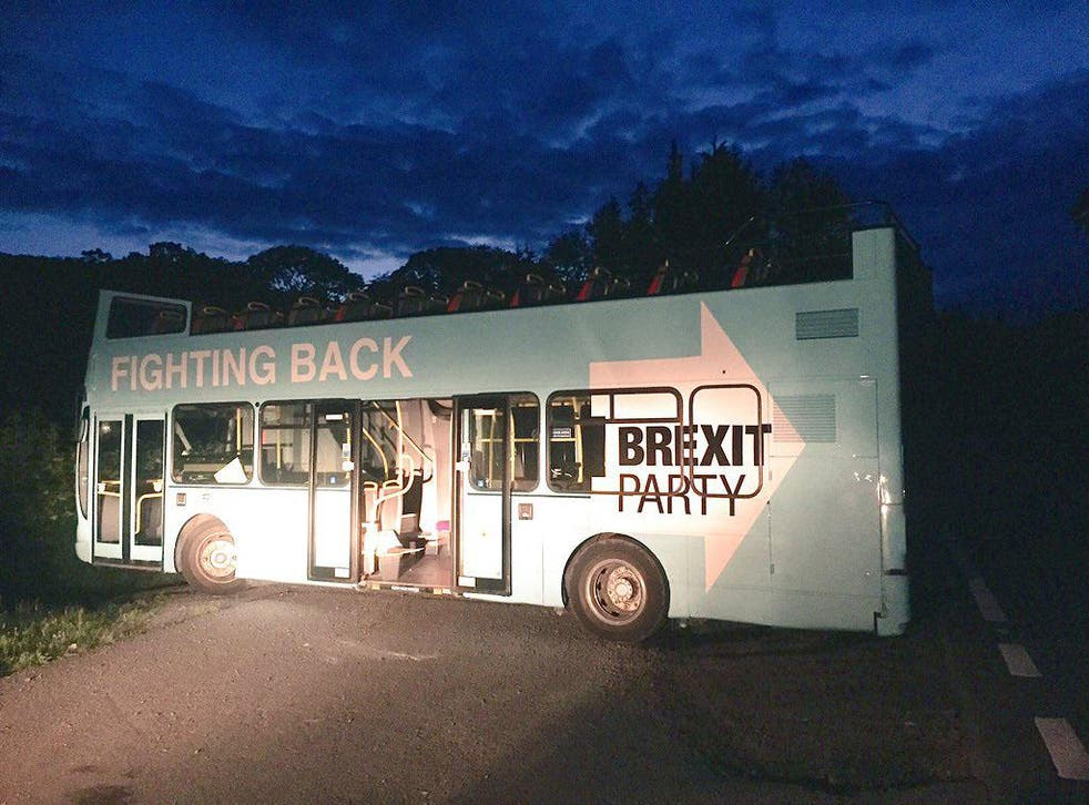 The Brexit Party bus was discovered by journalist Sue Charles at around 11pm on Saturday in the Brecon Beacons