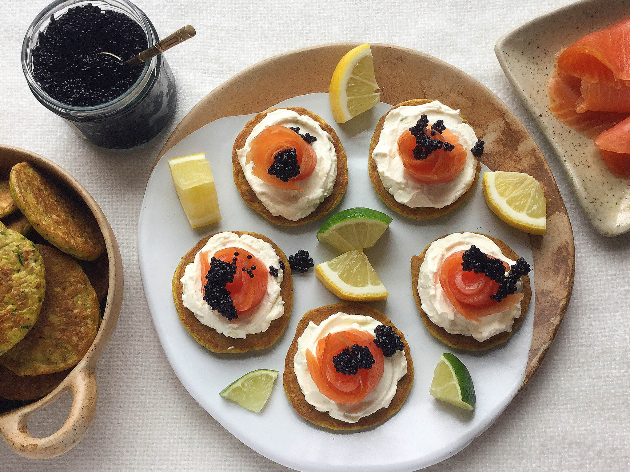How to make flax courgette blinis, smoked salmon and citrus cream cheese 1