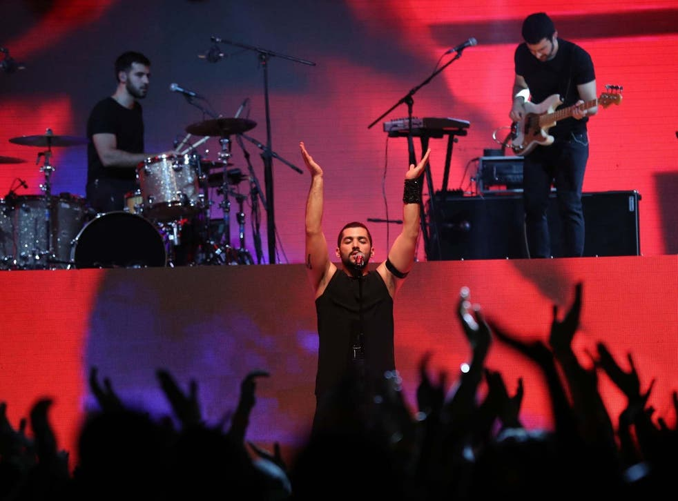 Hamed Sinno, the lead singer of Mashrou' Leila, performs on stage in Dubai in 2017