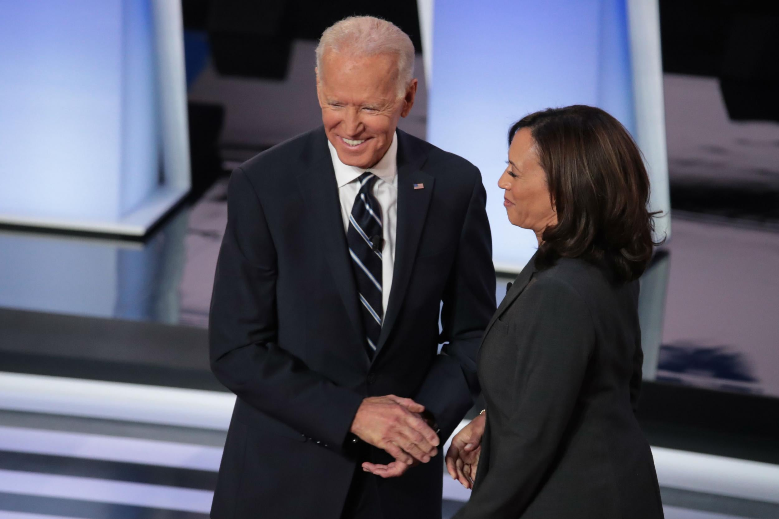 Democratic Debate Joe Biden Asks Kamala Harris To Go Easy On Me Kid On Hot Mic The Independent The Independent