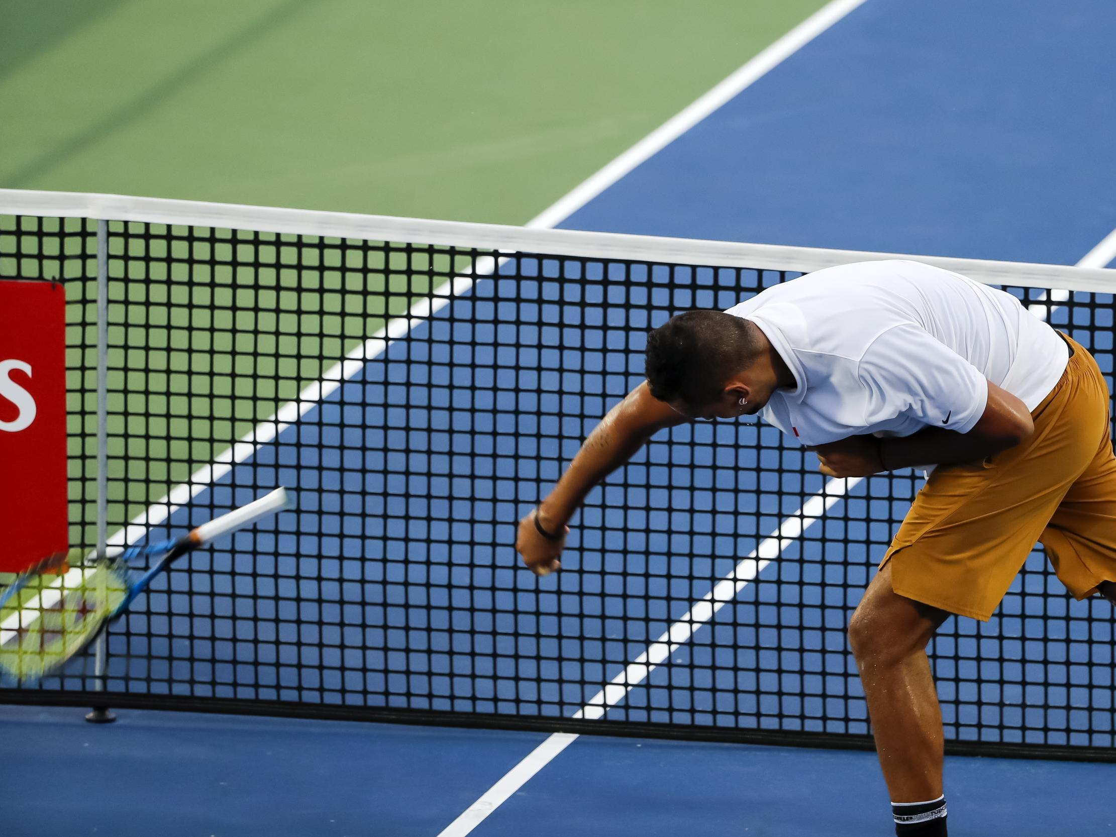 Nick Kyrgios: Australian smashes racket and refuses to shake hands with umpire at Citi Open