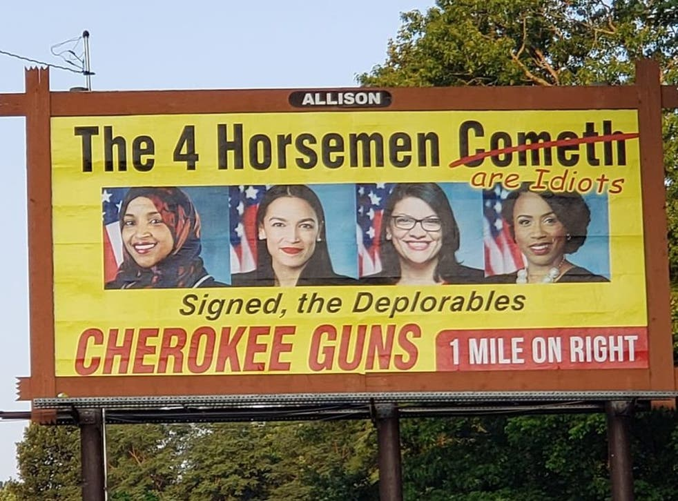 "Cherokee Guns' billboard calls four Democratic congresswomen ""idiots"""