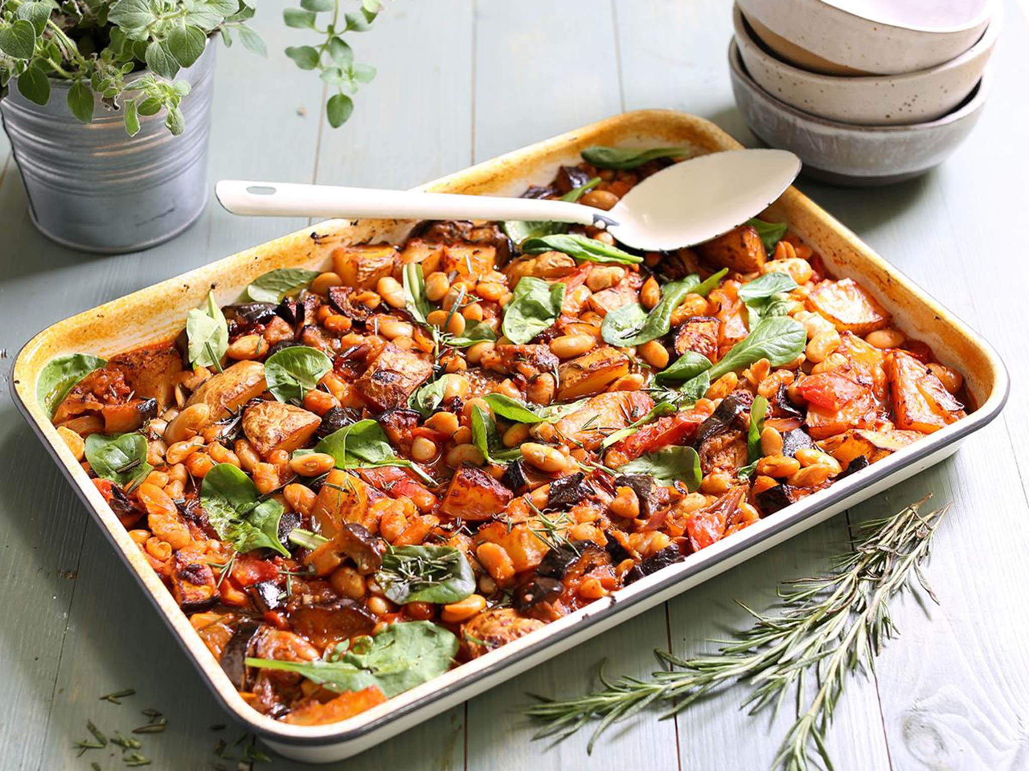 How to make tomato, aubergine and bean tray bake