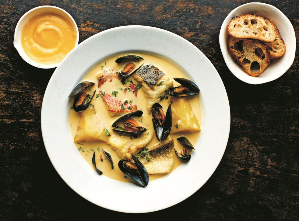 A cousin of bouillabaisse, bourride is a rich, saffron-spiked fish stew thickened with aïoli