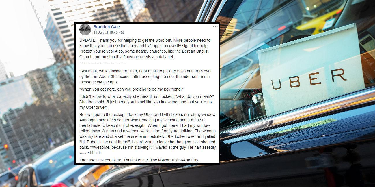 Uber driver pretends to be customer's boyfriend to save her from