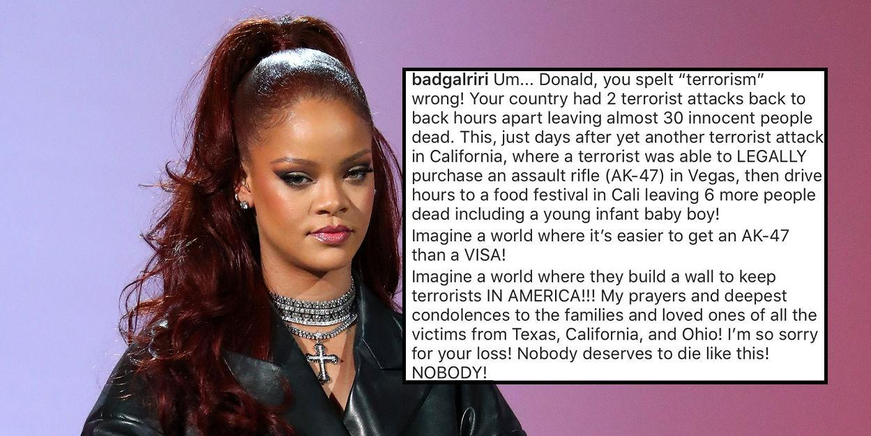 Texas Walmart shooting: Rihanna calls out Trump's response ...