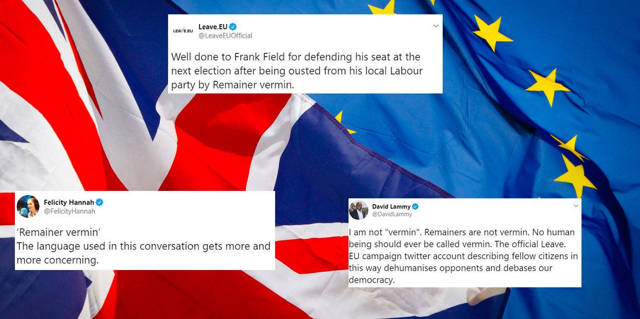 Leave EU sparks fury after calling Remainers 'vermin' on Twitter