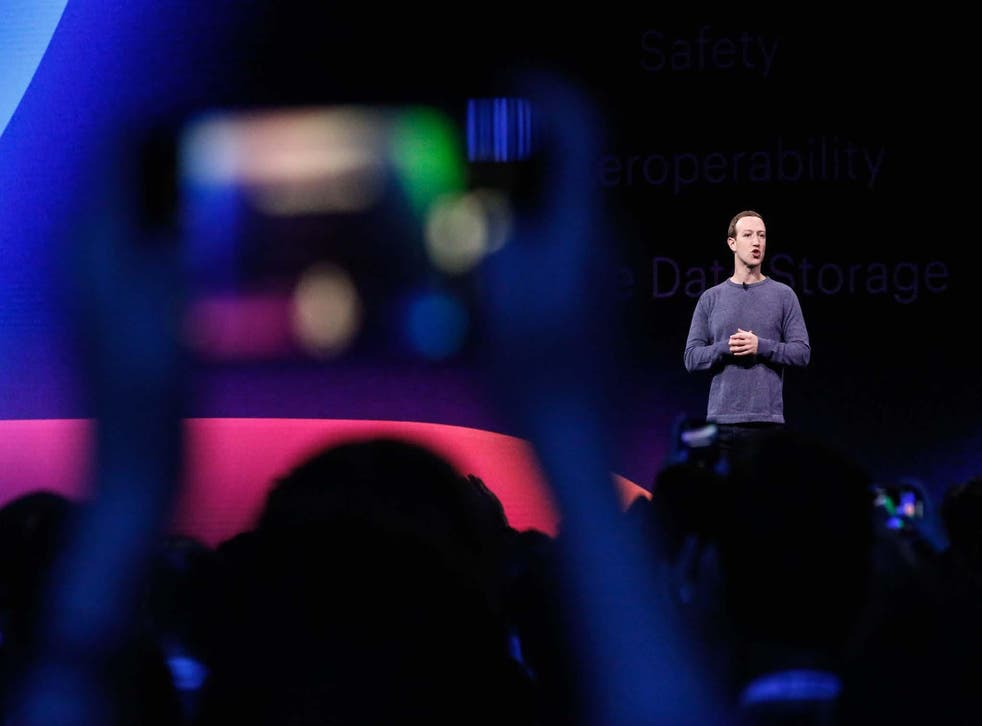 Facebook CEO Mark Zuckerberg delivers the opening keynote introducing new Facebook, Messenger, WhatsApp, and Instagram privacy features at the Facebook F8 Conference at McEnery Convention Center in San Jose, California