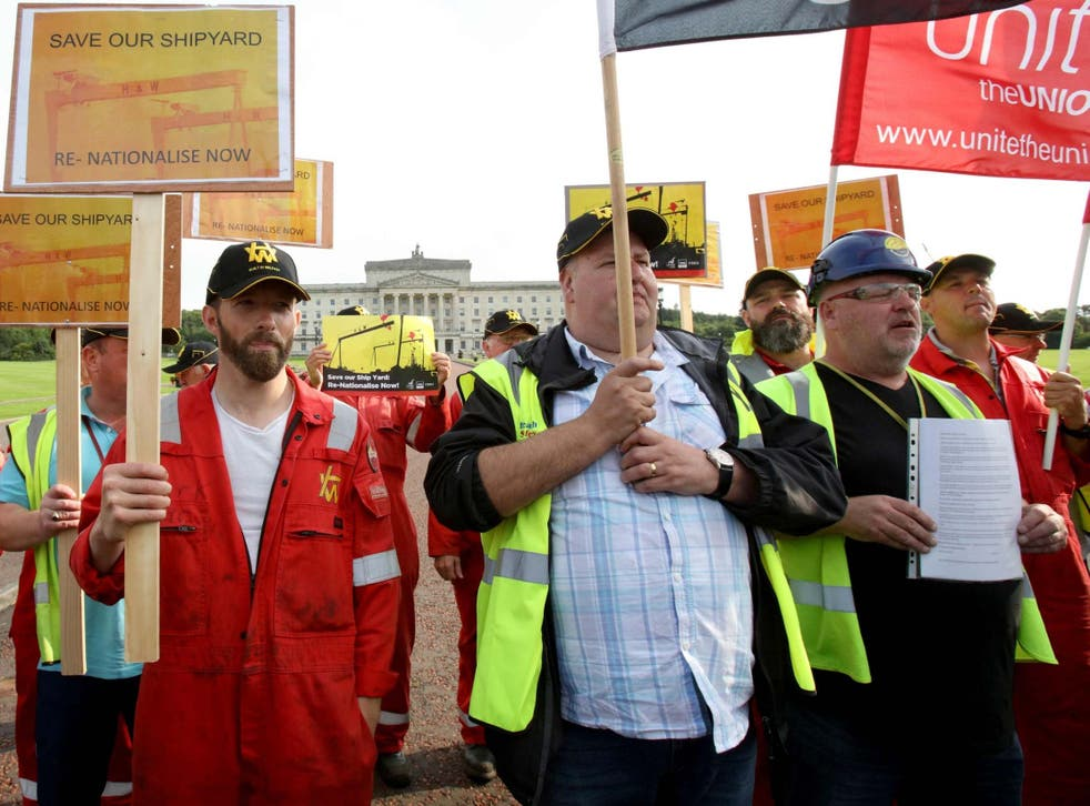 Harland and Wolff workers are protesting the shipyard's collapse as their jobs are placed on the line
