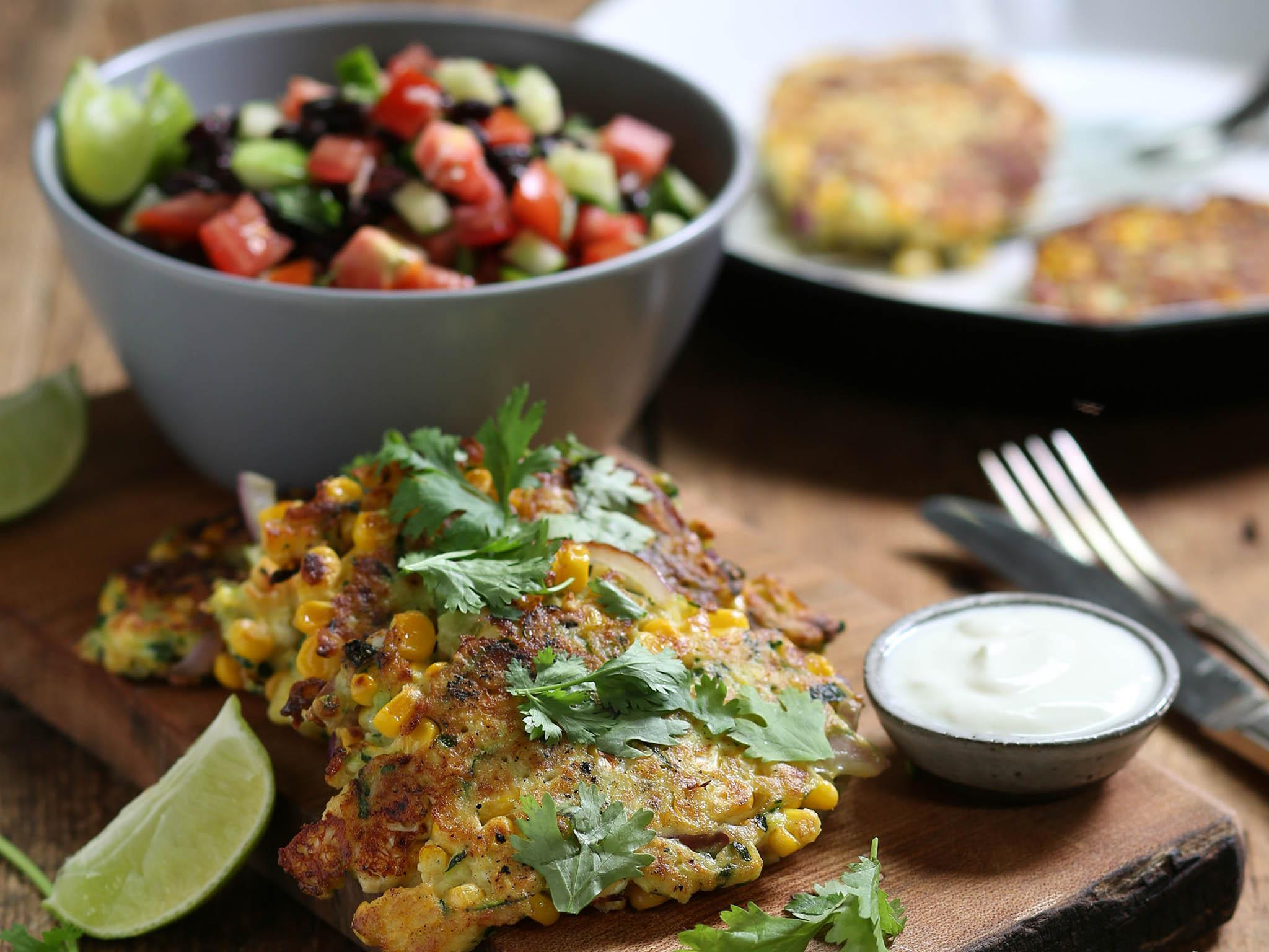 How to make sweetcorn, feta and courgette fritters with Mexican bean salad​ 1