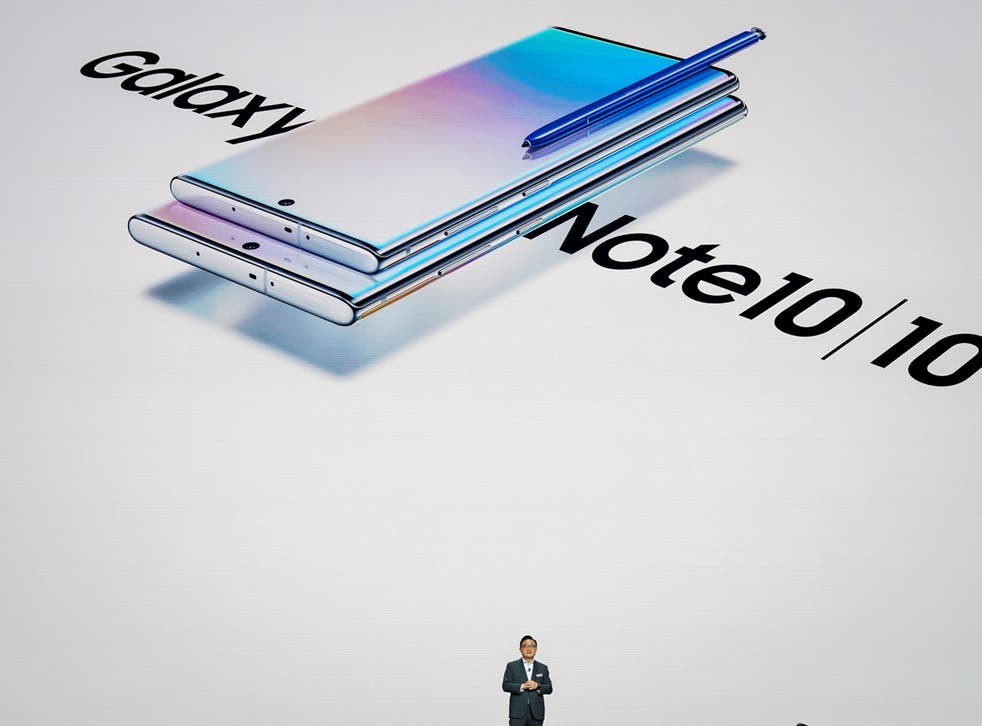 DJ Koh, president and CEO of Samsung Electronics, presents the Galaxy Note 10 smartphone during a launch event at Barclays Center on 7 August, 2019 in New York