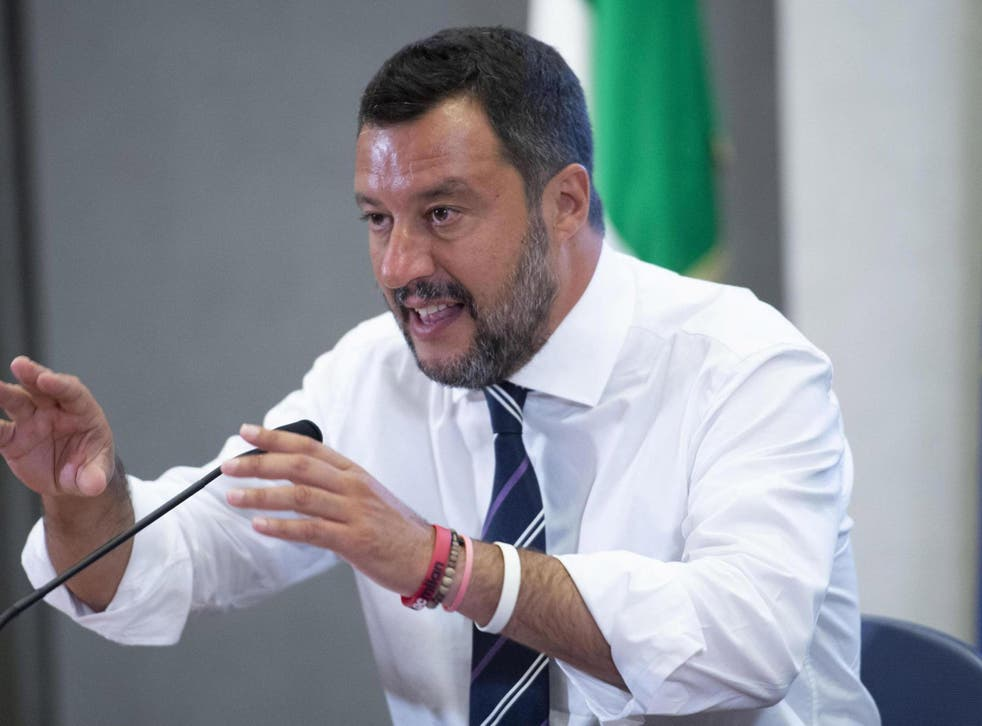 Italian deputy premier and interior minister Matteo Salvini talks to journalists at the Viminale Palace in Rome