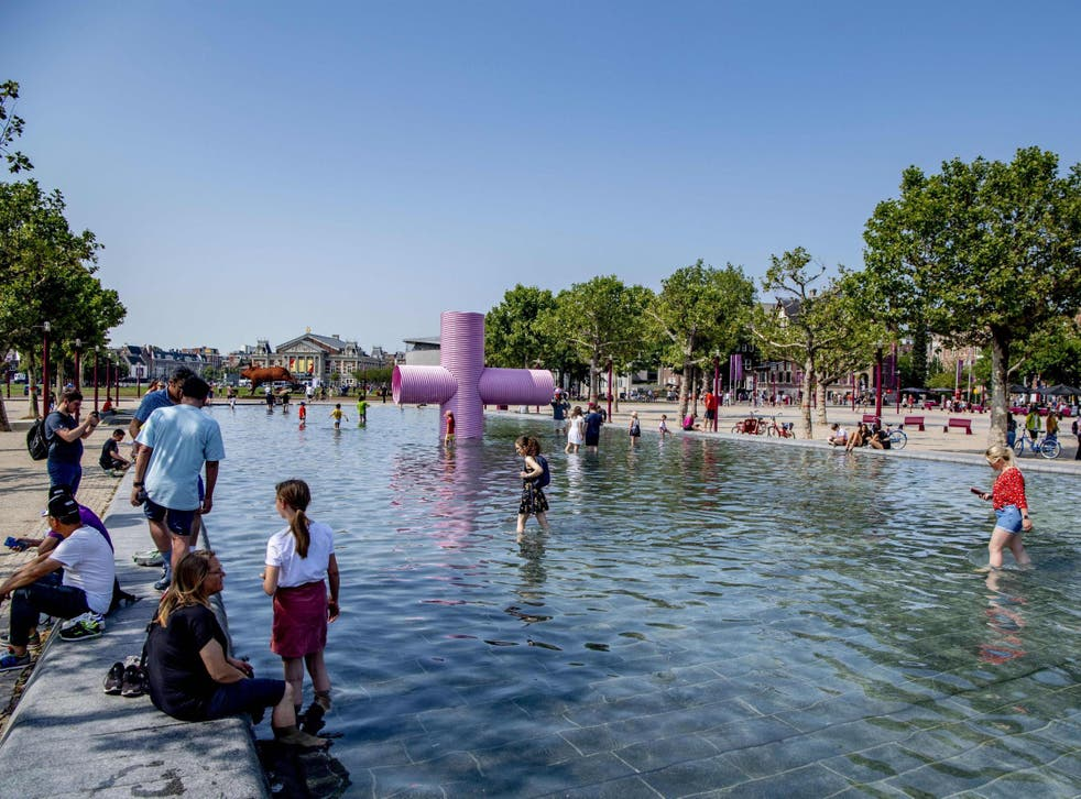 The Museumplein square in Amsterdam on 25 July during the heatwave