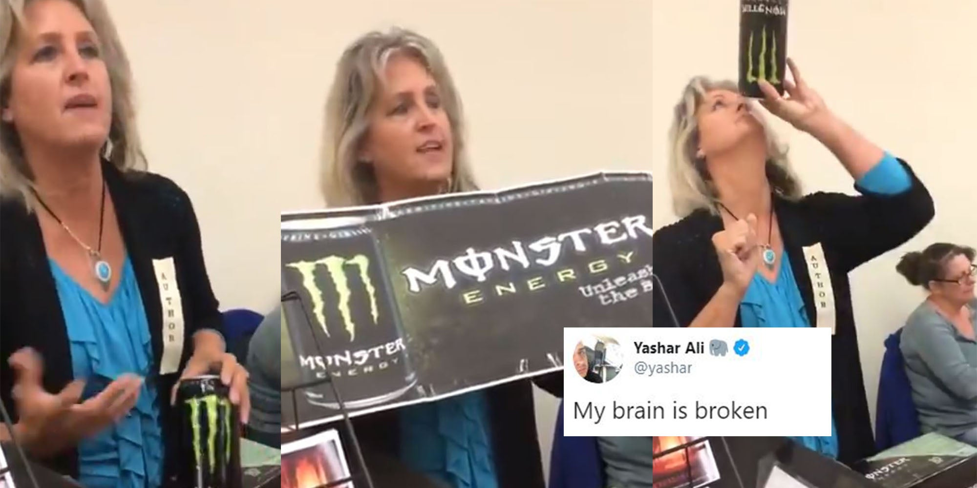 2014 video of woman claiming that Monster energy drinks