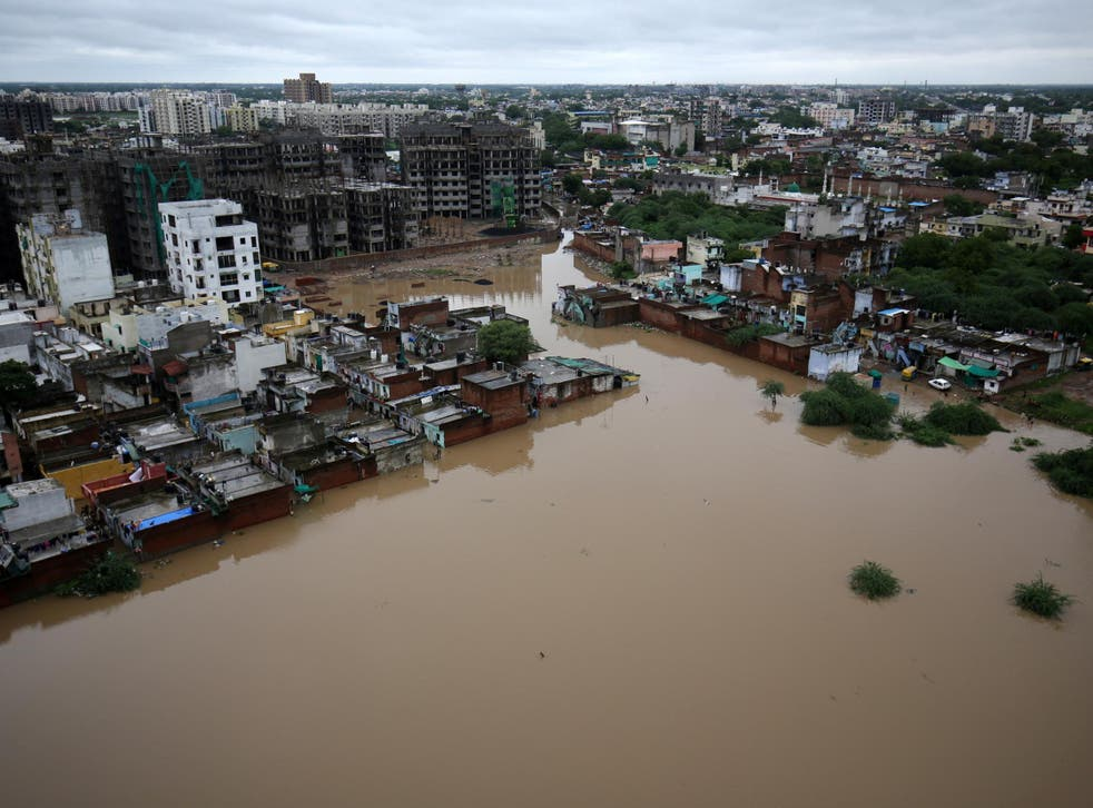 An aerial view shows a flooded residential area after heavy rains in Ahmedabad, India on 10 August 2019.