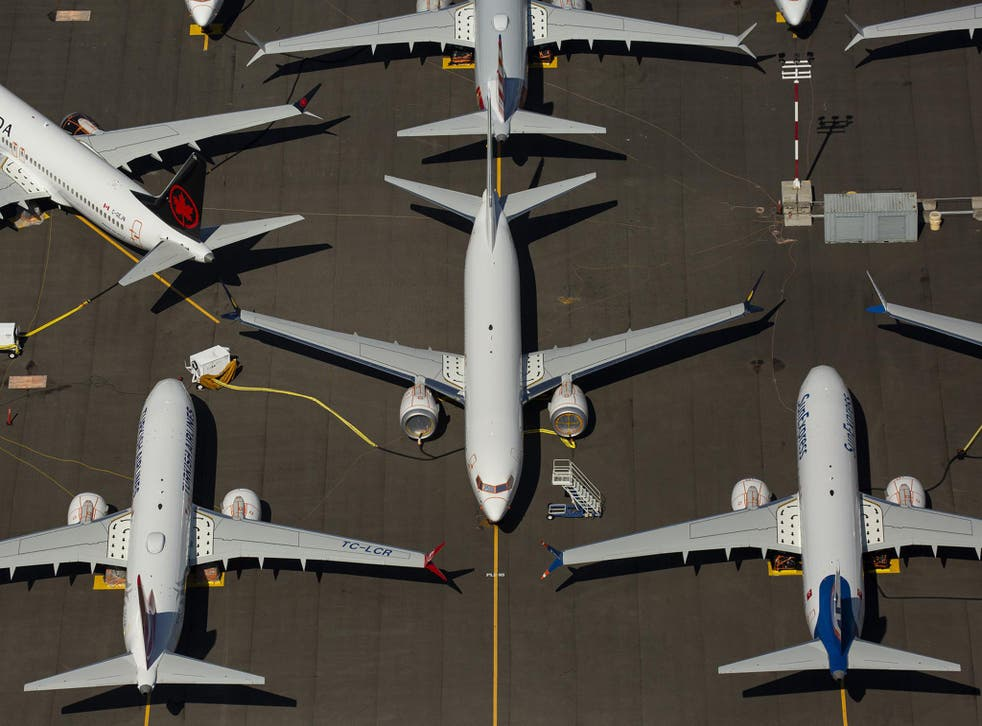 Boeing 737 Max planes are parked on Boeing property in Seattle in August