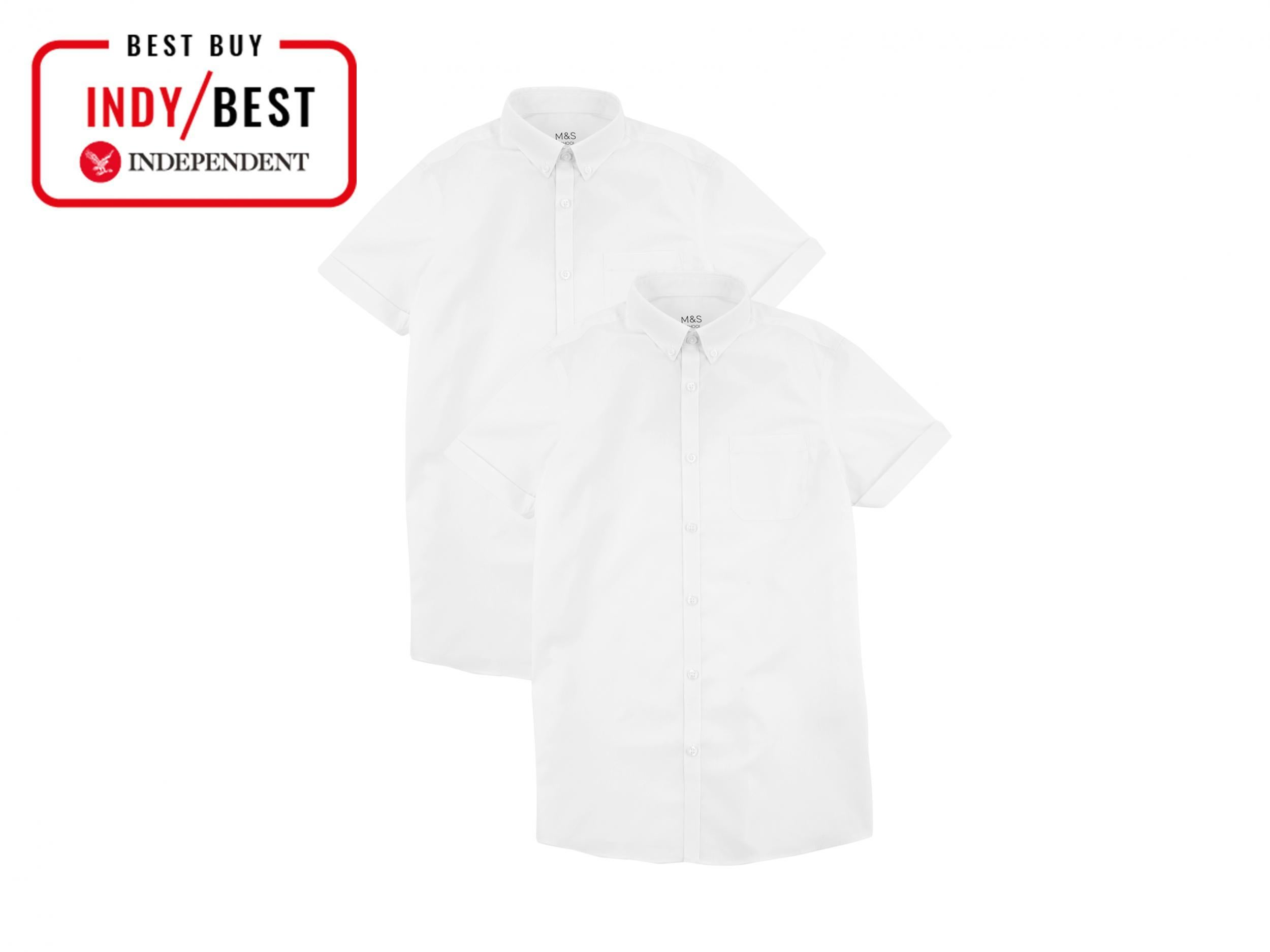 White School Uniform Shirts Adult Sizes Blue Traditional Button Front Grey