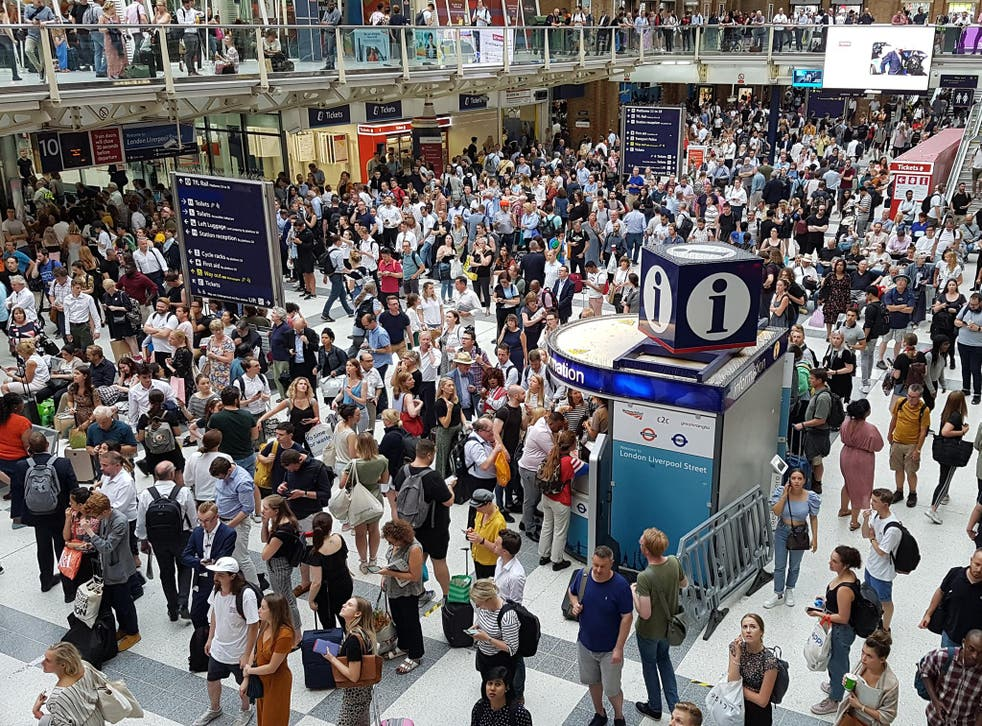 Scenes from Liverpool Street station show commuters bearing up under the (less than) chaotic disruption