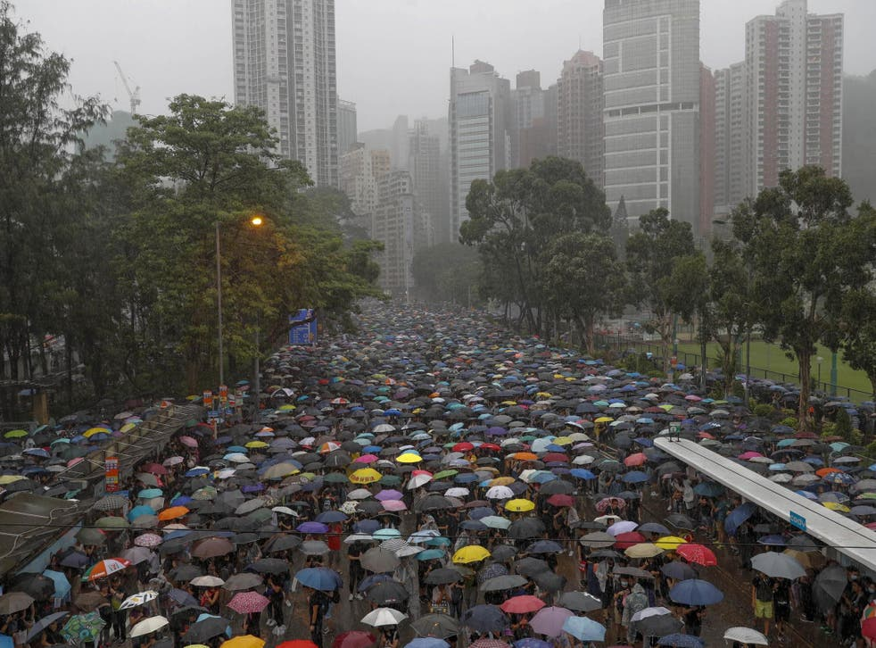 Protesters gather in Hong Kong on Sunday 18 August 2019