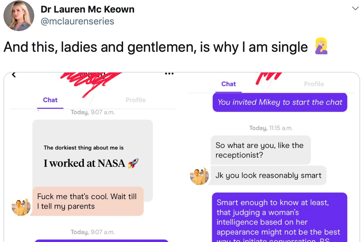 Nasa intern's response to Hinge date who asked if she was the receptionist goes viral