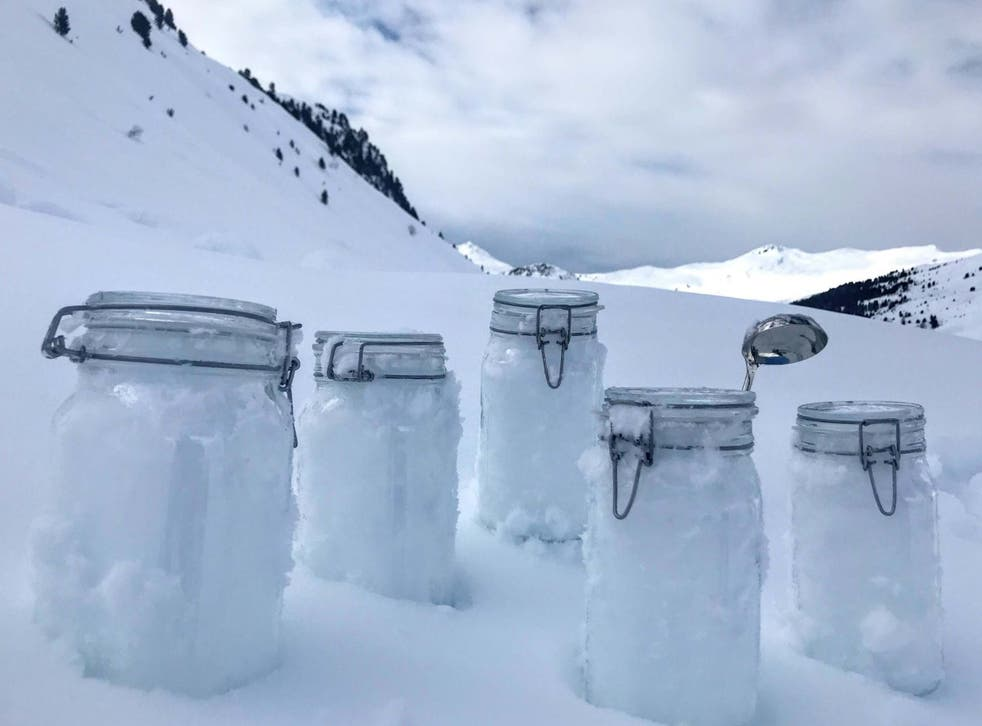 The team of scientists gathered snow samples from isolated locations