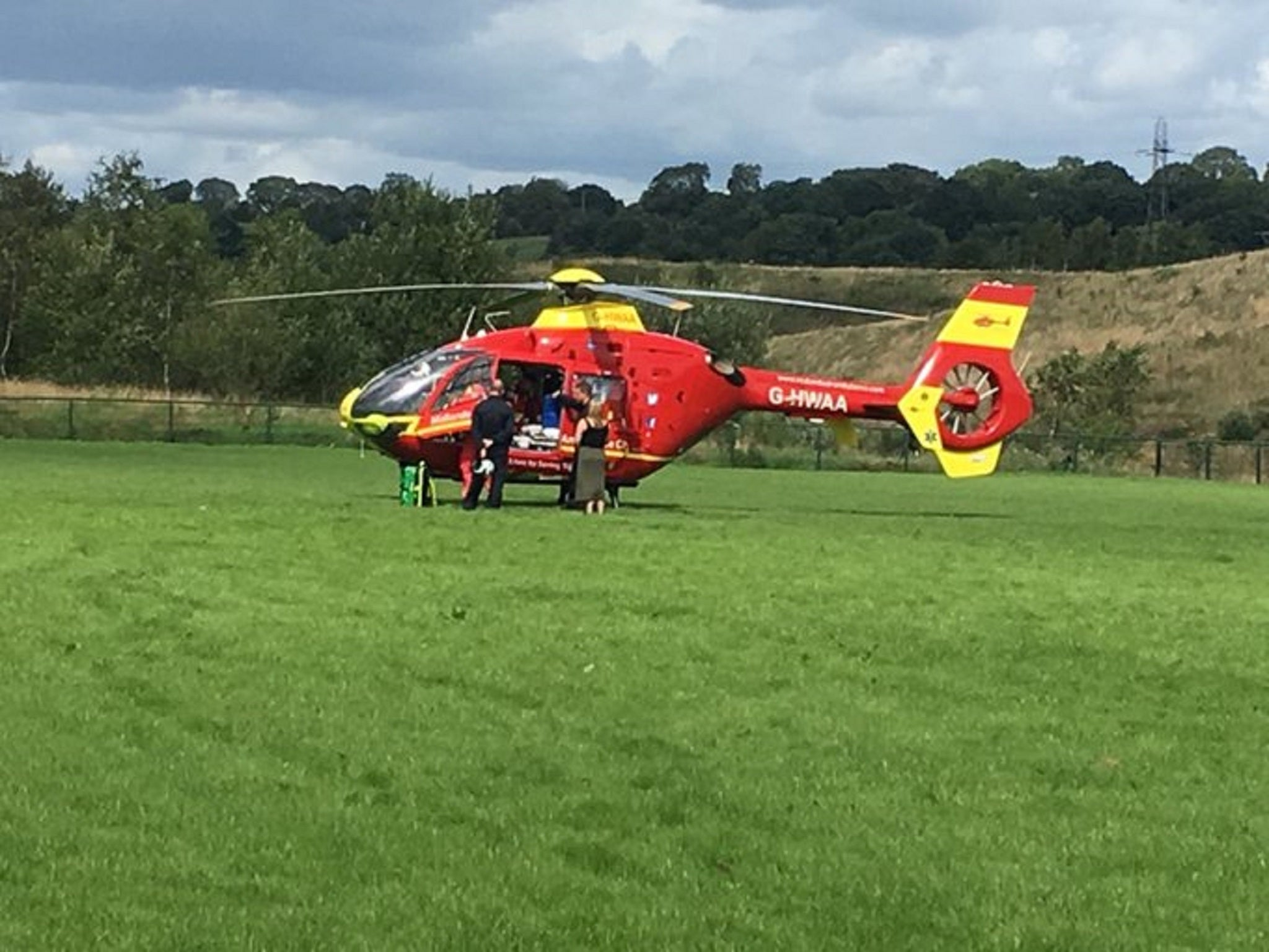 Boy impaled in neck by football training pole airlifted to hospital