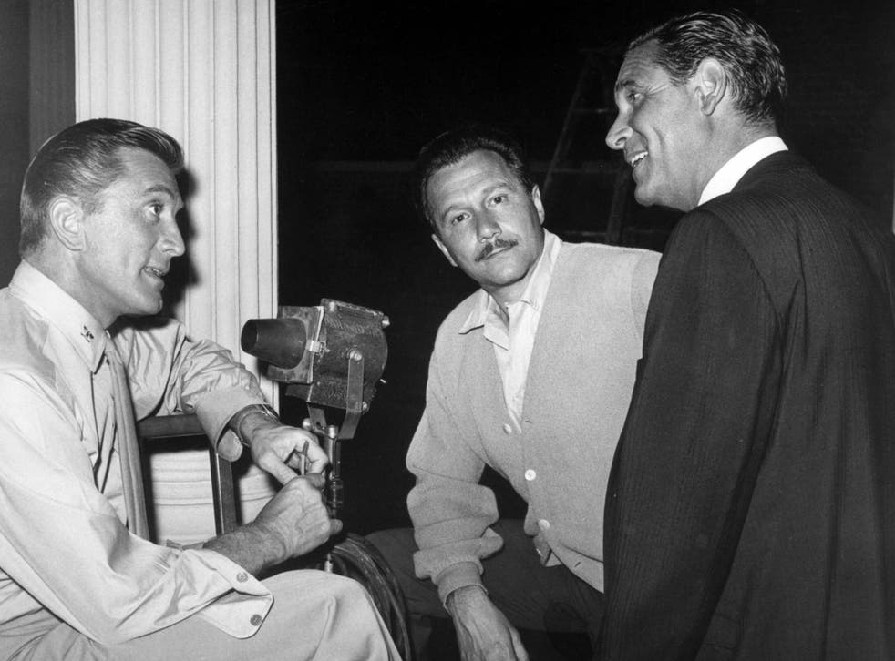 Lewis (centre) with star Kirk Douglas (left) and Paramount Pictures head of production Martin Rackin on the set of political thriller 'Seven Days in May', 1964
