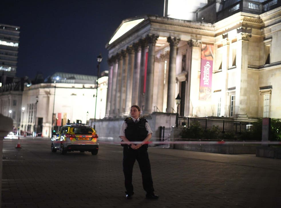 Police cordoned off part of Trafalgar Square following a stabbing