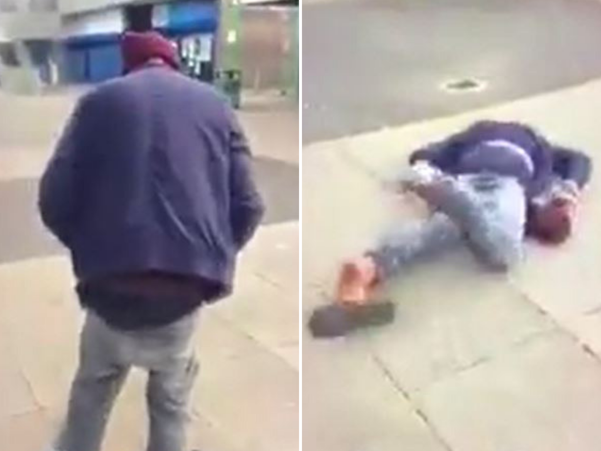 Homeless man kicked and pushed to ground after man 'pretended to hel…