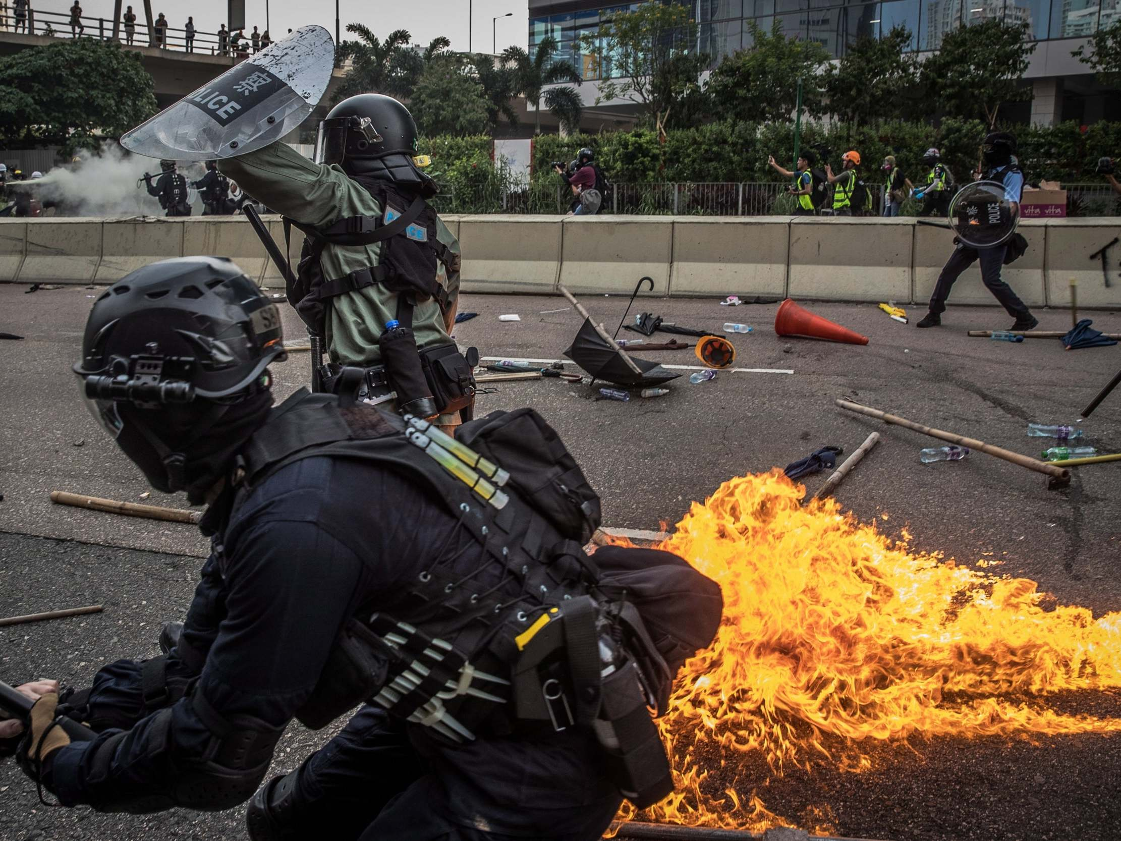 Hong Kong: Gasoline bombs, bricks and tear gas thrown as chaos returns to anti-government protests