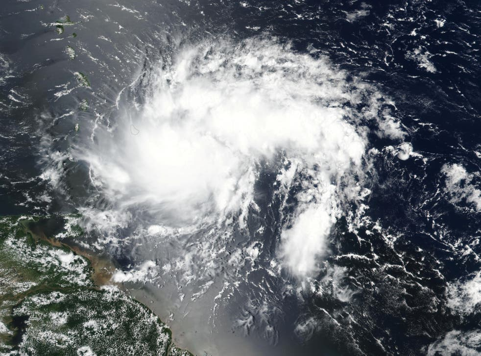 Tropical storm Dorian pictured off the coast of Venezuela in this NASA satellite image, 26 August 2019.