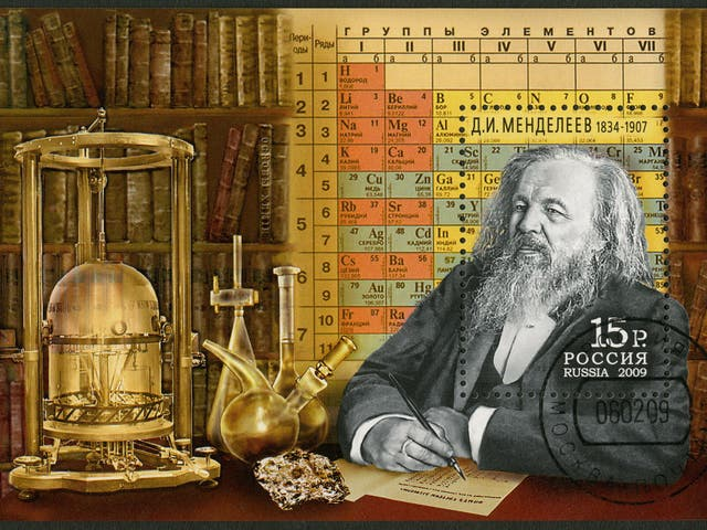 A 2009 Russian stamp celebrates Dmitri Mendeleev, the creator of the first periodic table