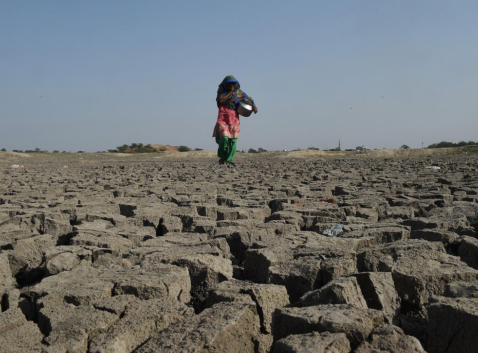 A woman walks over the parched bed of Chandola Lake in Ahmedabad