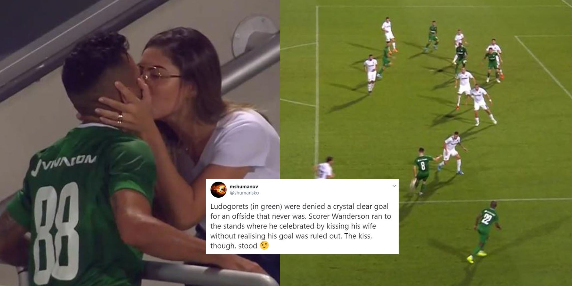 Ludogorets footballer Wanderson celebrates goal by kissing