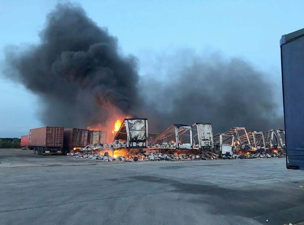 Almost 40 trailers were scorched at the Hotpoint factory in Peterborough.