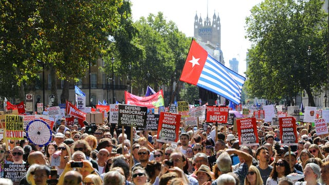 Anti Brexit protesters march on Whitehall