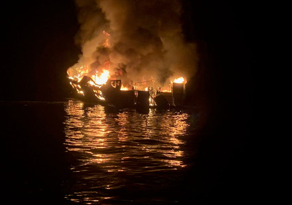California boat fire: Eight confirmed dead as 25 remain