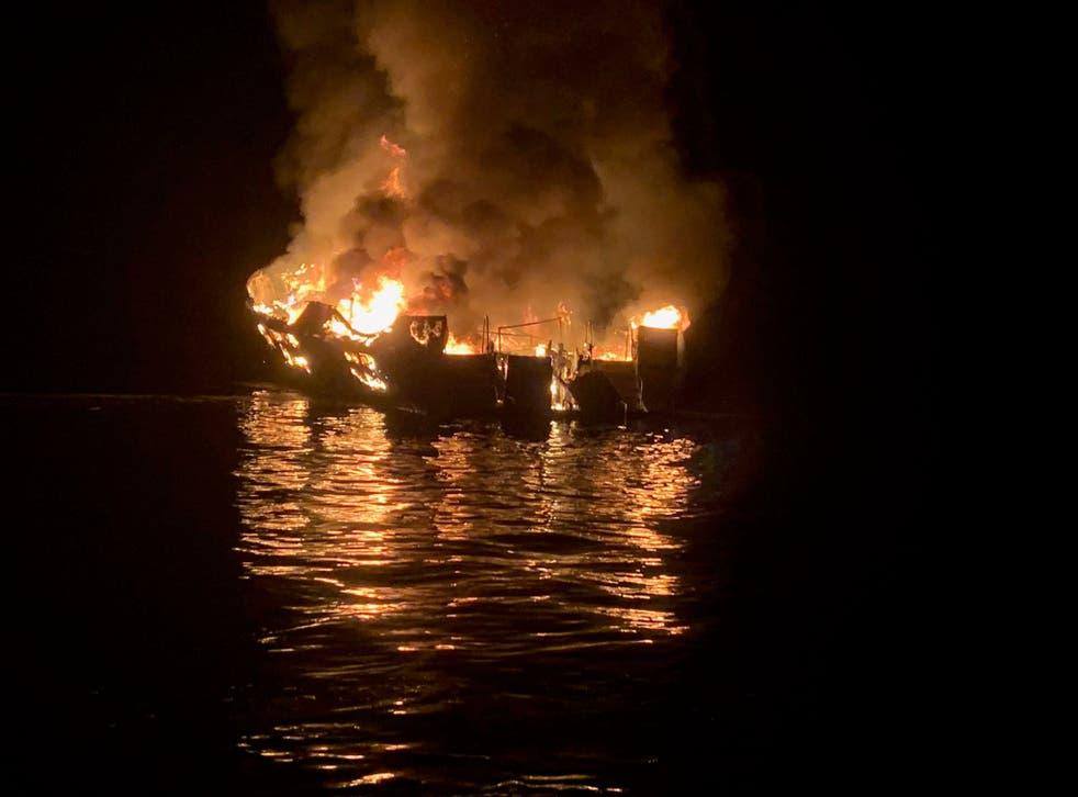 The diving boat Conception on fire off Santa Cruz Island, California