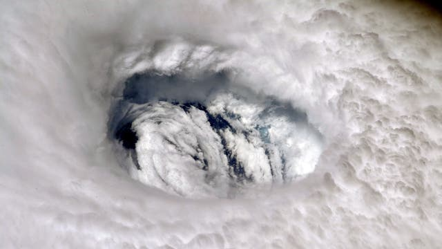The eye of Hurricane Dorian as captured  by Nasa astronaut Nick Hague from onboard the International Space Station (ISS) on 3 September