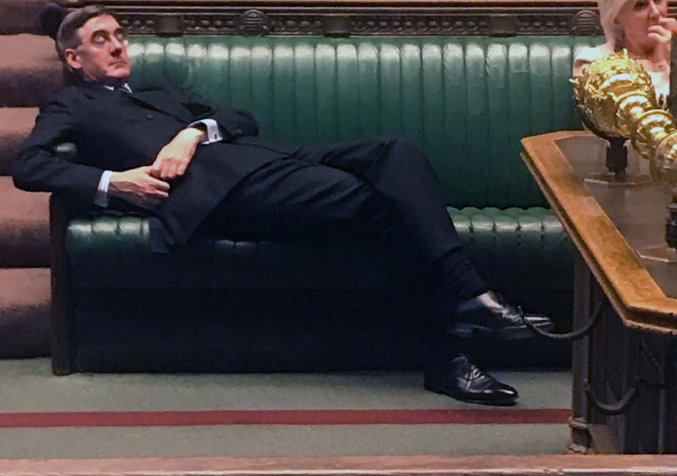 The picture of Jacob Rees-Mogg lying down on the job will