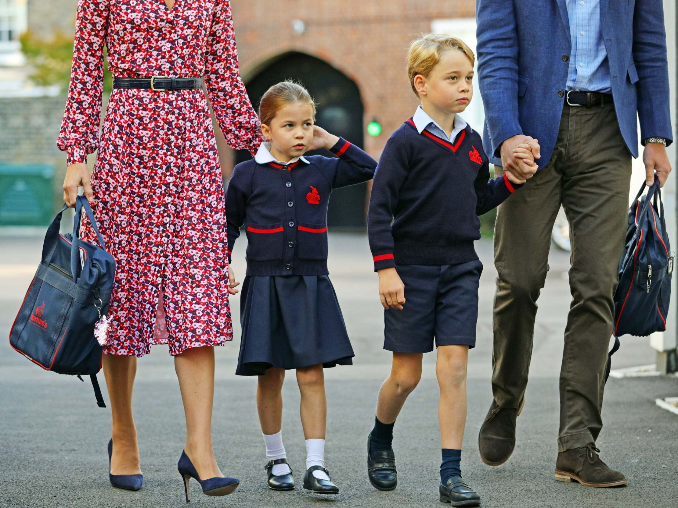 Princess Charlotte arrives at school with Prince William