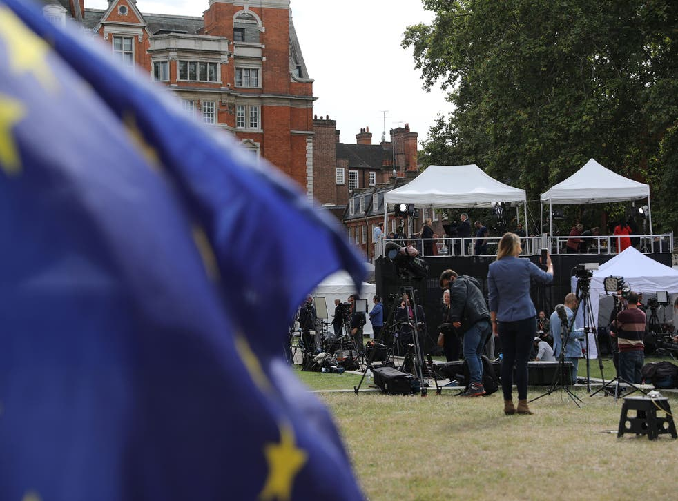 The scale of a political crisis is measured by the number of media gazebos on College Green