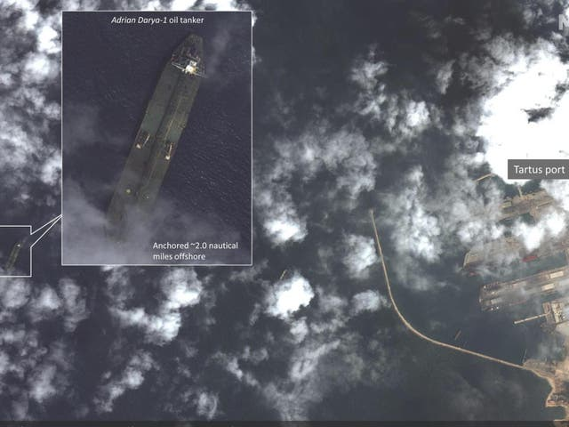 Satellite imagery appears to show the once-detained Iranian oil tanker Adrian Darya-1 near the Syrian port, despite U.S. efforts to seize the vessel